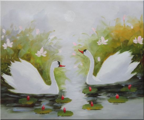 Pair of Swans Enjoys Happy Time in Beautiful Lily Pond Oil Painting Animal Naturalism 20 x 24 Inches