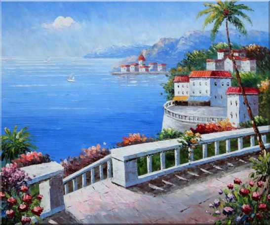 Mediterranean Colorful Garden Oil Painting Naturalism 20 x 24 Inches