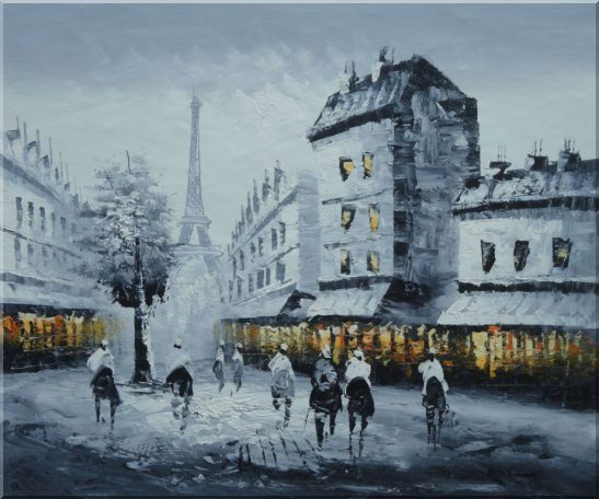 Paris Street to Eiffel Tower in Black, White and Yellow Oil Painting Cityscape Impressionism 20 x 24 Inches