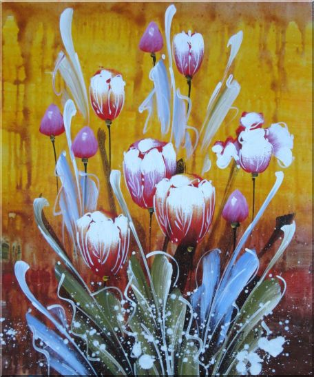 Beautiful Blooming Tulips Oil Painting Flower Decorative 24 x 20 Inches