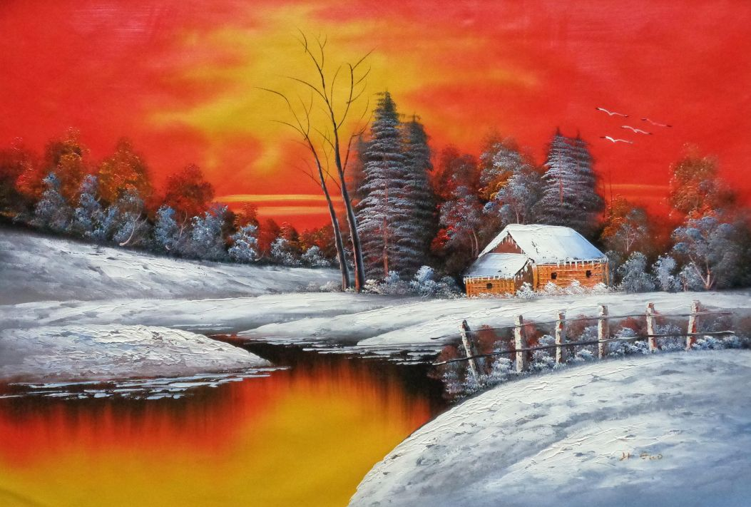 A Snow Coverd Cottage In Winter Forest At Christmas Sunset