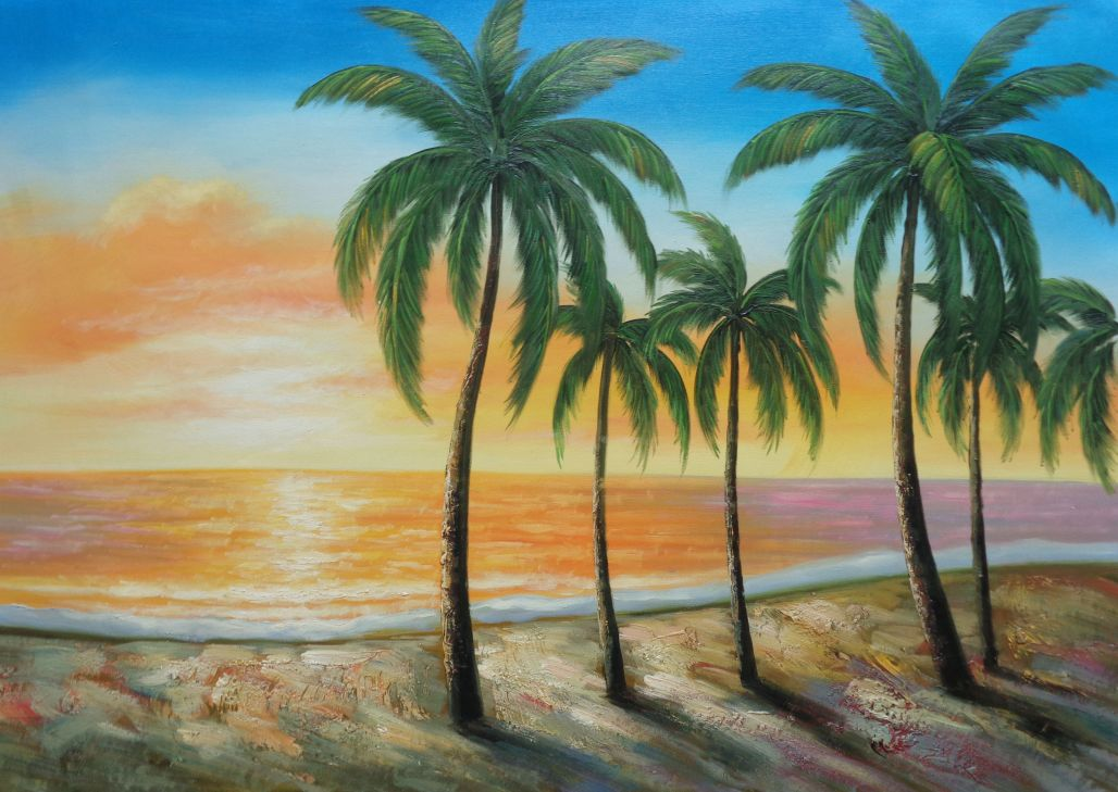 Tropical Paradise Of Palm Trees On Sunset At Seaside Oil