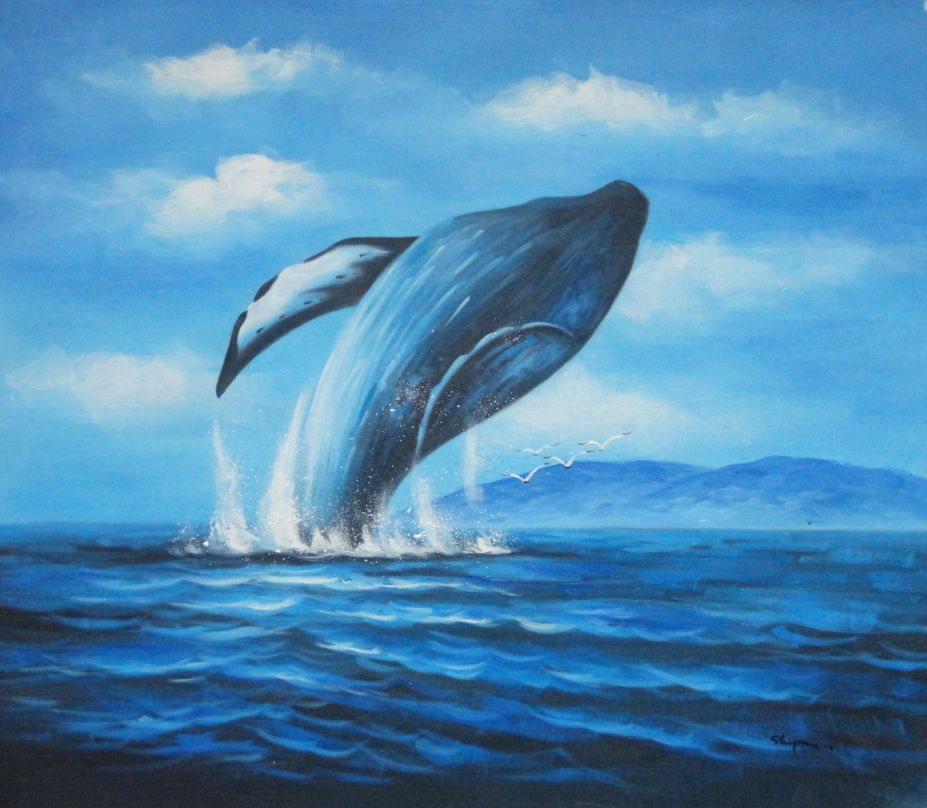 Whale Jumping Out Of The Water Oil Painting Animal Marine