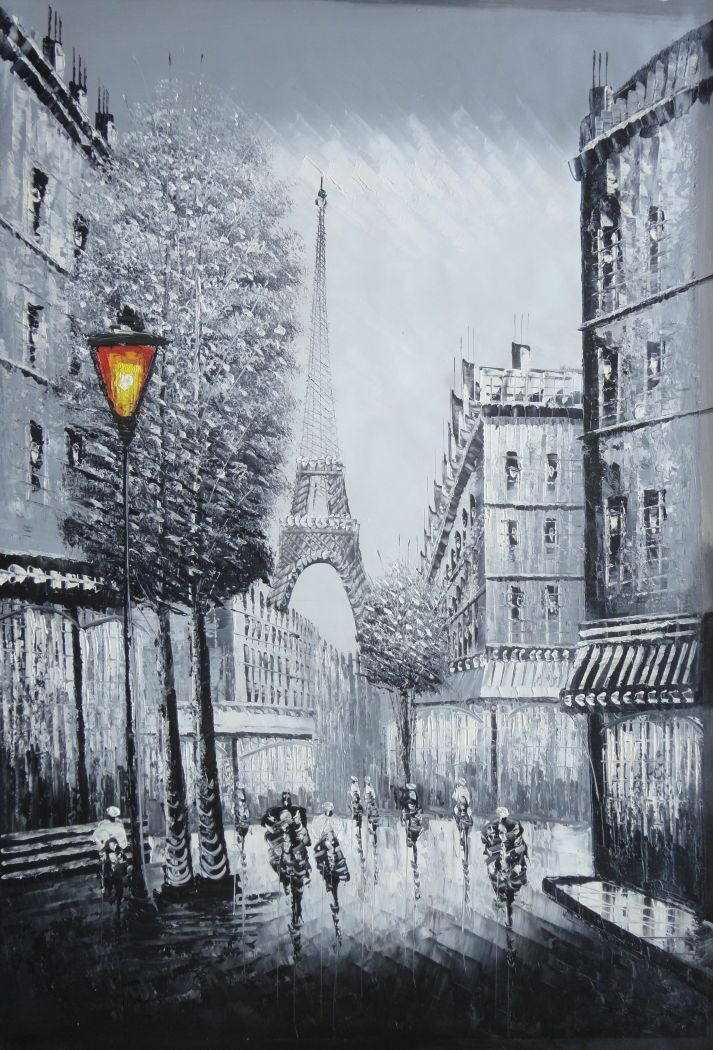 Framed People Walk On Paris Street To Eiffel Tower Black And White Oil Painting Cityscape Impressionism 36 X 24 Inches