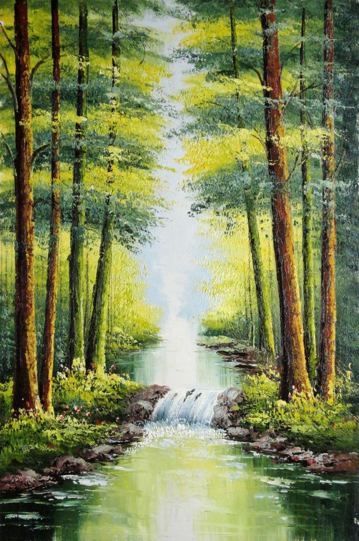 Framed small waterfall in early autumn oil painting for Pictures of small waterfalls