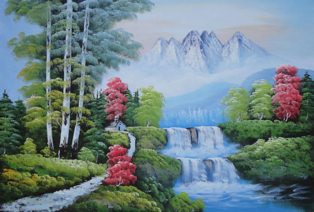 Water From Snow Mountain Oil Painting Landscape Waterfall