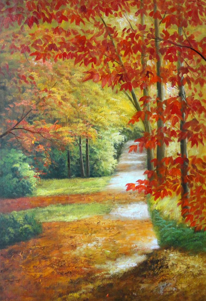 Framed A Peaceful Path Under Golden Autumn Trees Oil