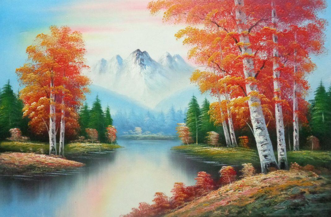 Autumn Colors Along A Small River Oil Painting Landscape