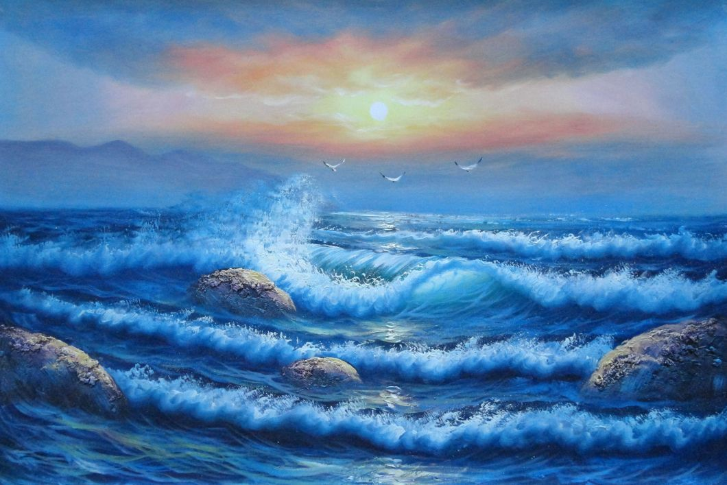 Sea Waves Sea Birds Rocks On Sunset Oil Painting