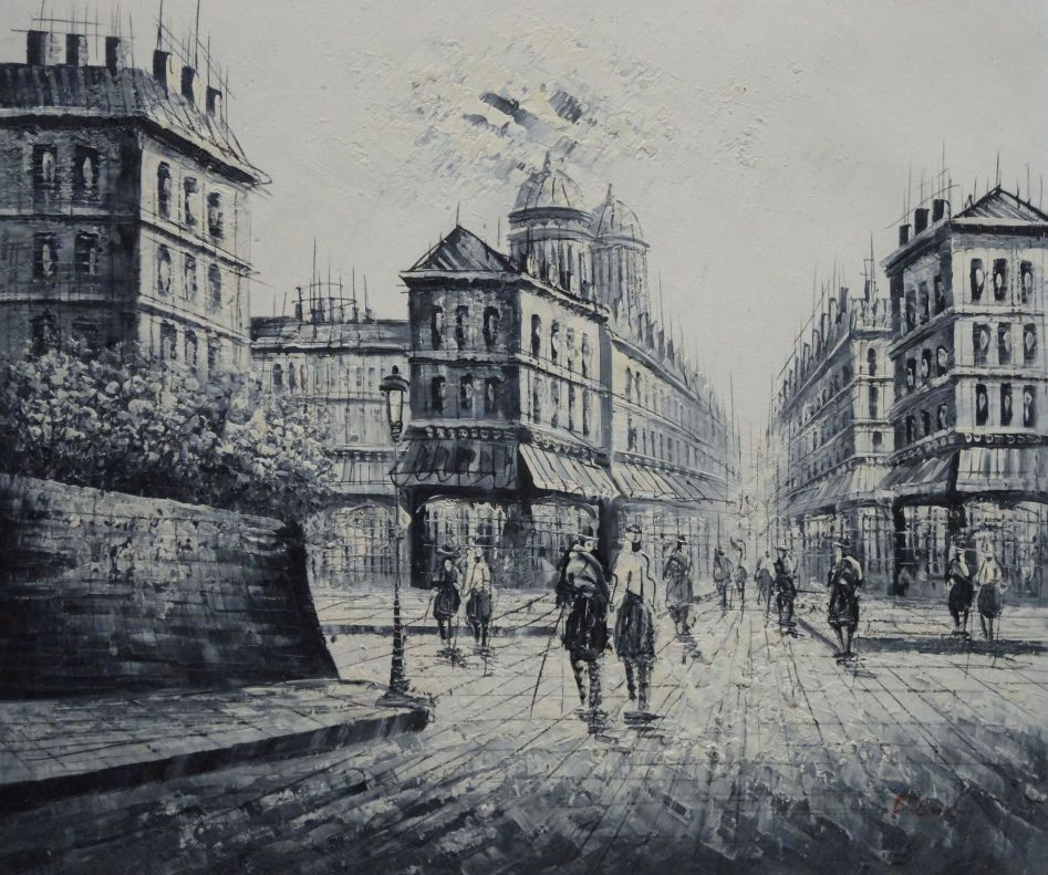 Framed the city of love oil painting black white cityscape - Laminas y posters madrid ...