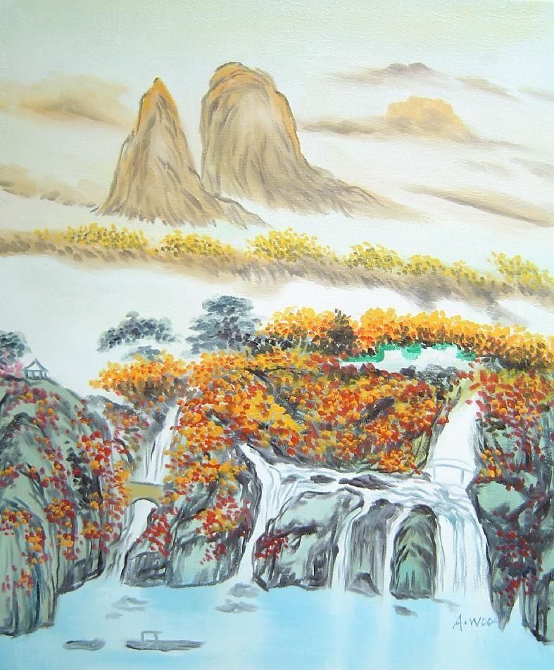 Mountain Waterfall Bridge Hut And Lake Oil Painting