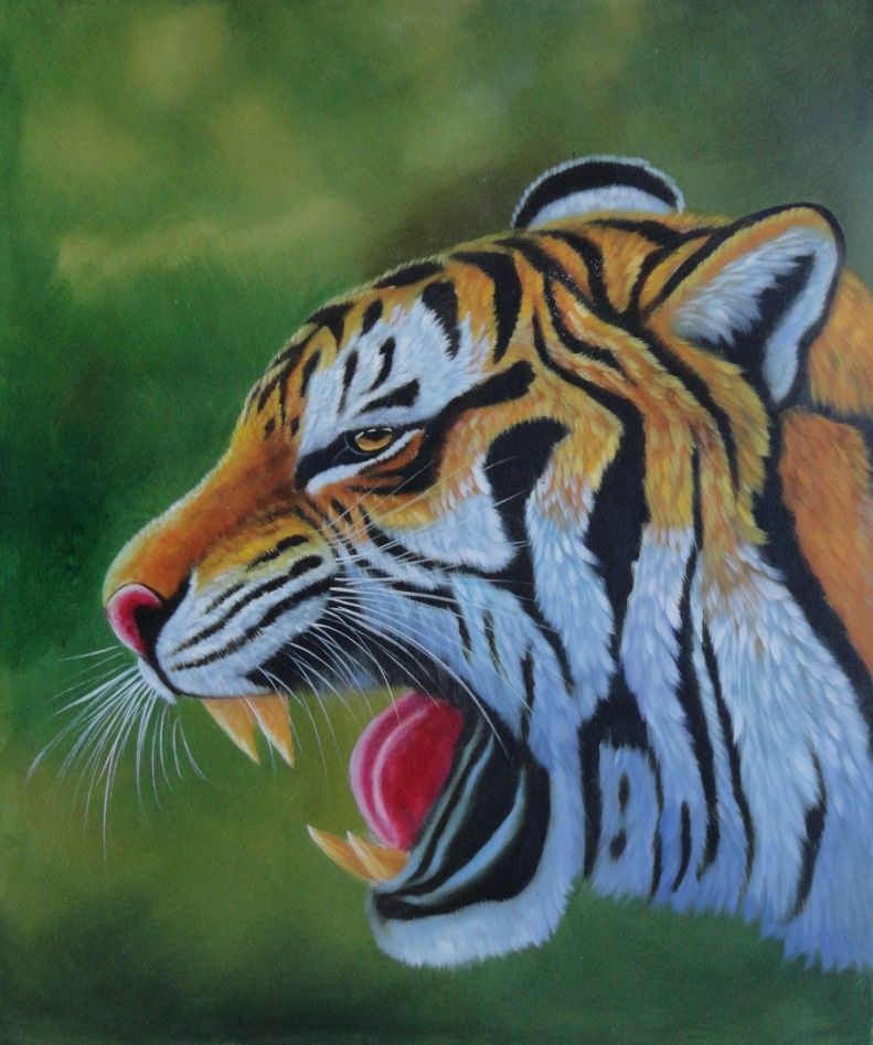A Fierce Tiger Head In Green Background Oil Painting