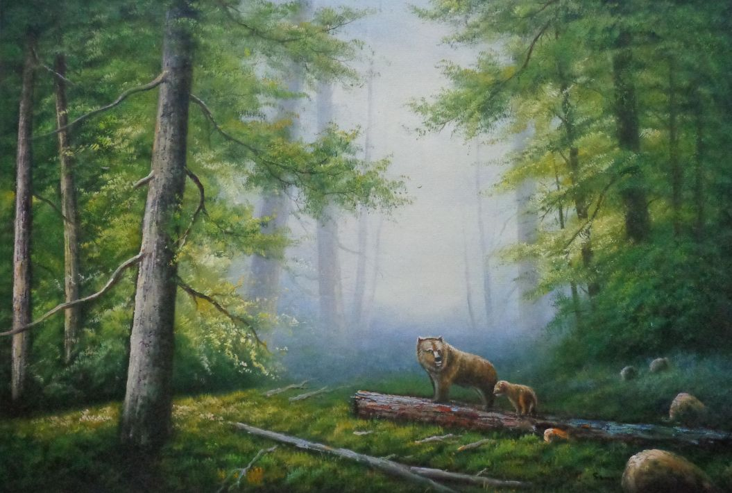 Bear Mother and Child Wandering in Deep Forest Oil Painting Animal Classic  24 x 36 Inches With Frame