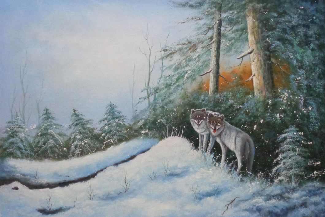 Pair Of Wolves In Snow Forest Oil Painting Animal Wolf