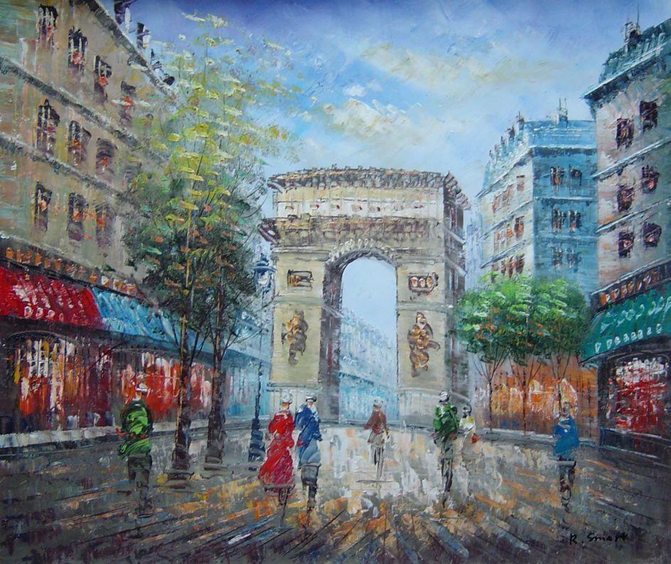 Framed Twilight At Arc De Triomphe Of Paris Oil Painting