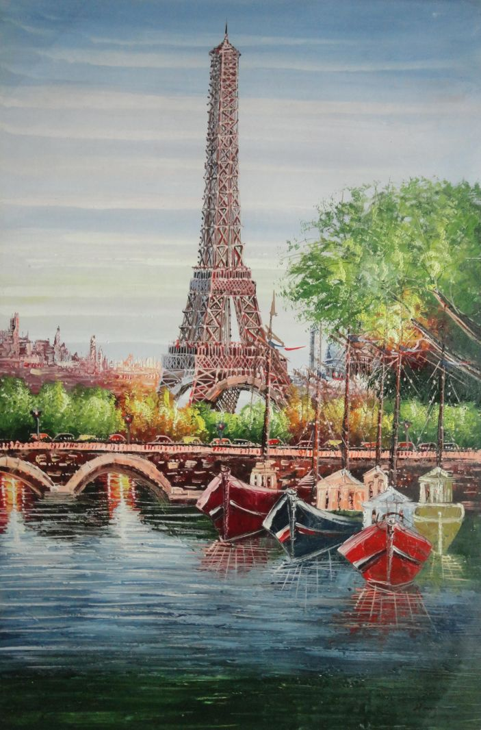 42x30 Framed Oil Painting Eiffel Tower River Seine Paris