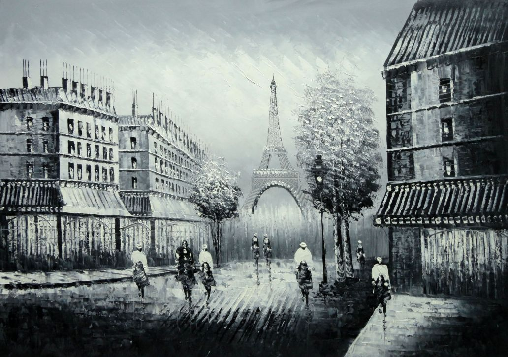 People Crossing Eiffel Tower Oil Painting Black White