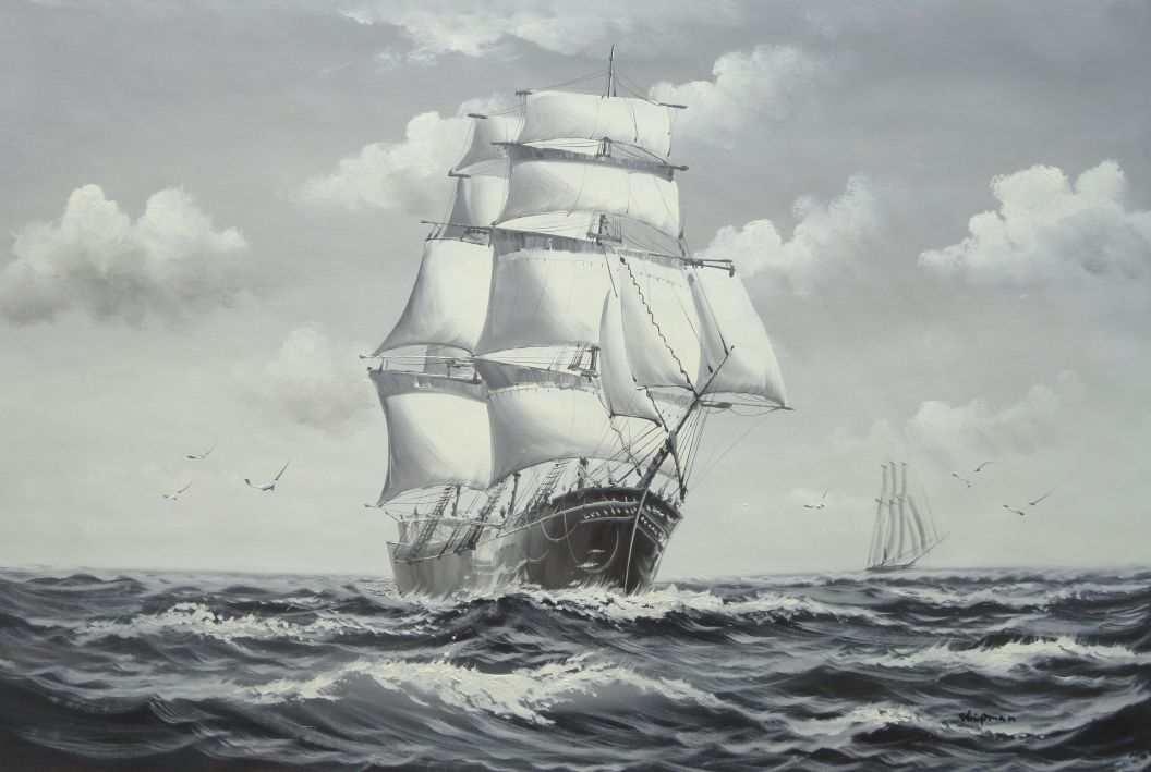 Black White Big Fully Rigged Masted Ship Sailing on the ...
