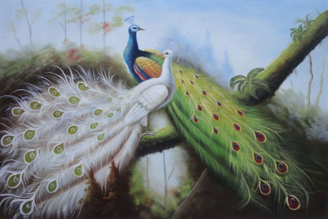Pair Of Green And White Peacocks On Tree Oil Painting