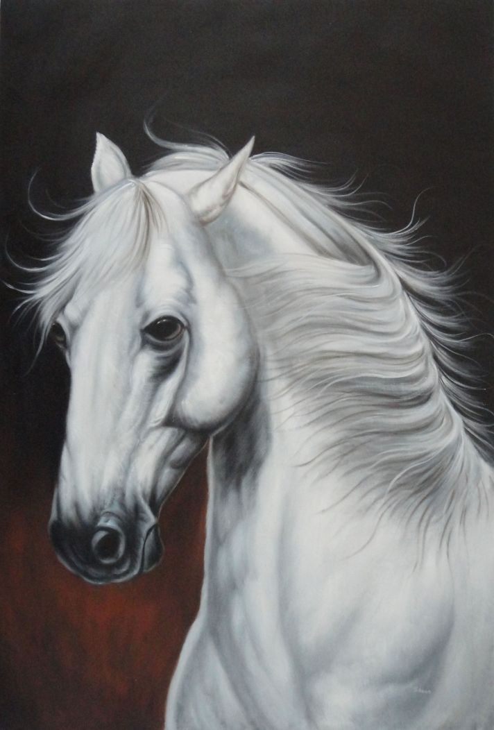 Framed White Horse With Long Manes In Brown Background Oil Painting Animal Naturalism 36 X 24 Inches