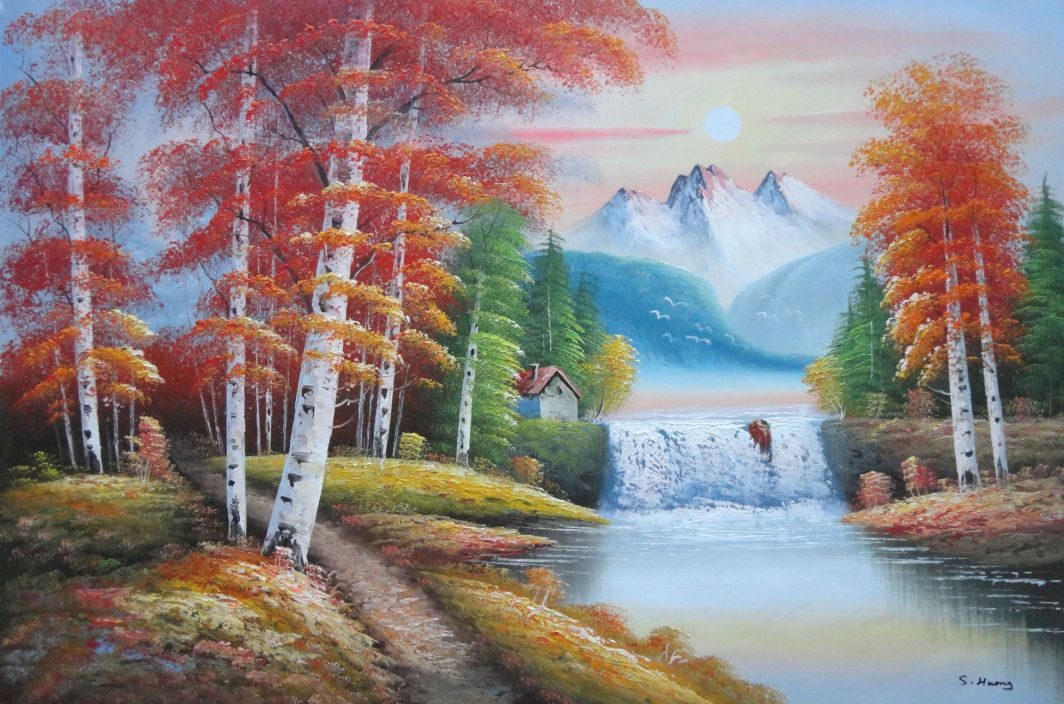 Small waterfall scenery in alaska colorful autumn oil for Oil painting scenery