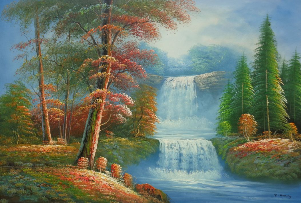 Small cascade waterfall with tall red leaf tree autumn for Oil painting scenery