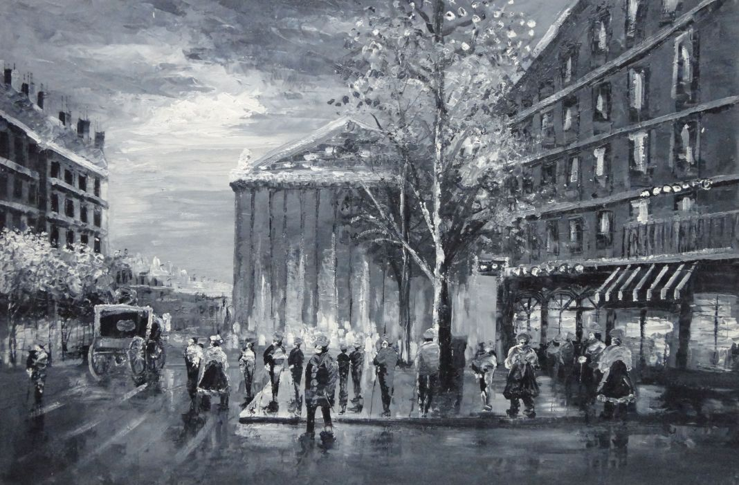 Black And White Paris Street Scene Near Madeleine Oil