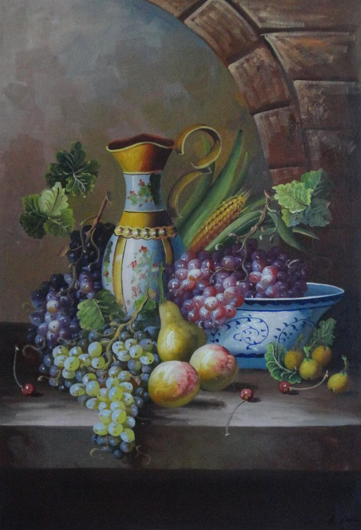 Framed Delicate Jar And Fruit Bowl With Grapes Peaches