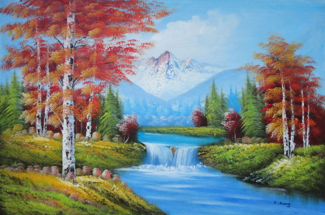 Small waterfall scenery in autumn oil painting landscape for Artworks for sale online