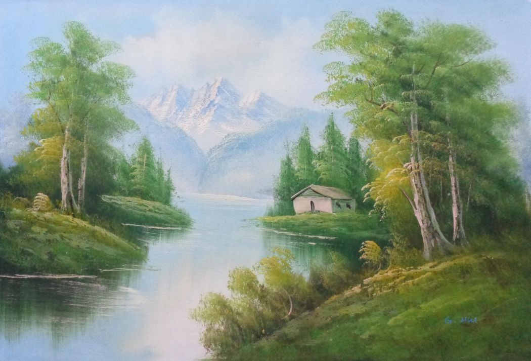 Riverside Cottage Under Snow Mountain Oil Painting