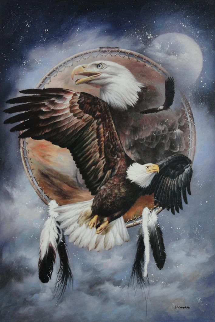 Framed Native American Art Of Bald Eagles Oil Painting