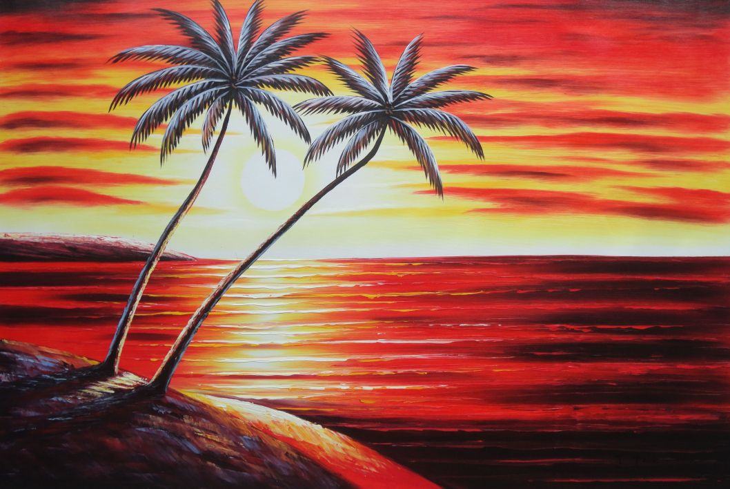 Coastal Palm Trees At Sunset In Hawaii Oil Painting Seascape America Naturalism 24 X 36 Inches With Frame