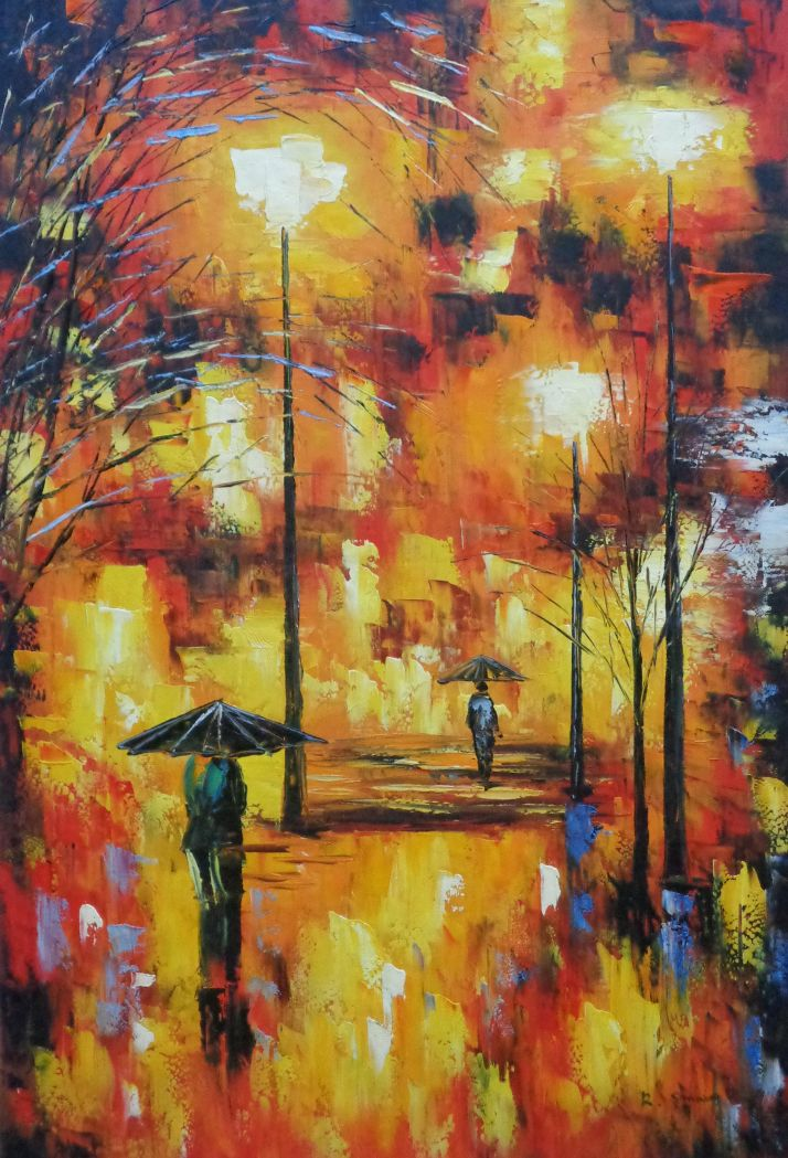 Framed Walking On Rainy Day Street At Night Oil Painting