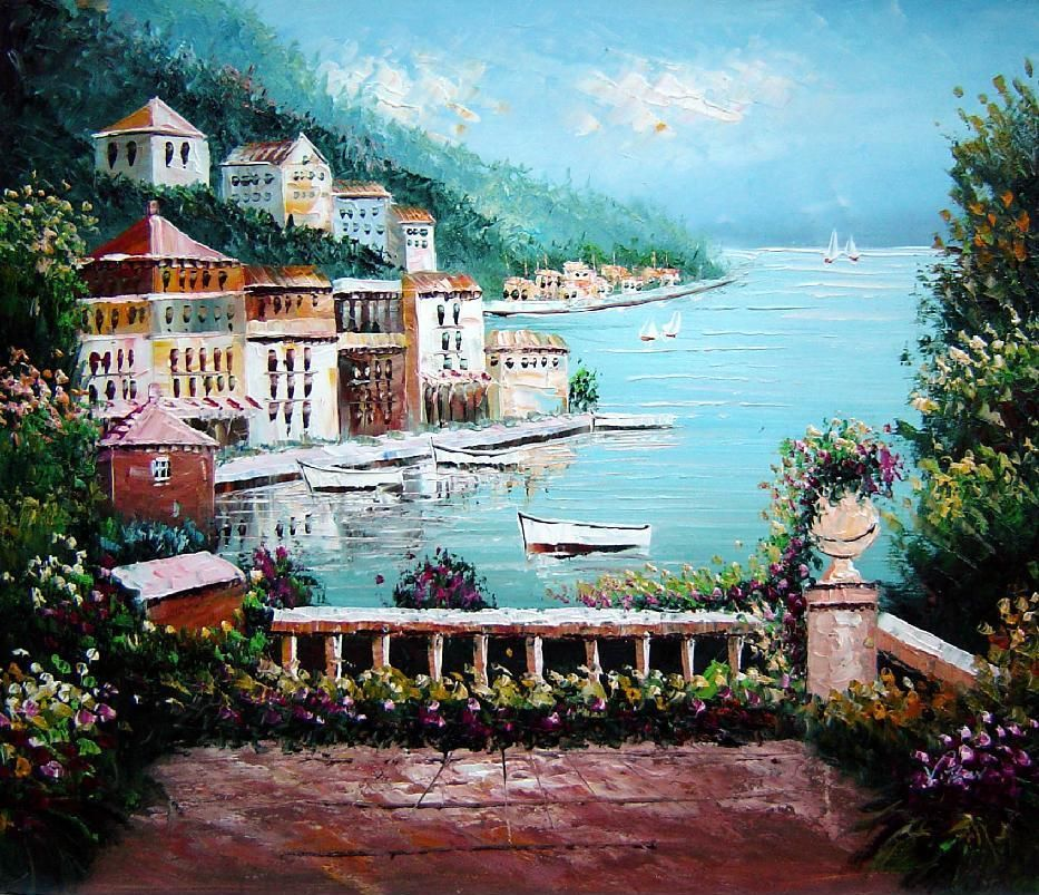 Beach House With Flower Patio Oil Painting Mediterranean