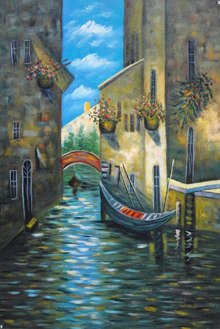 Framed Small Boat Across Bridge In Venice Water Canal Oil