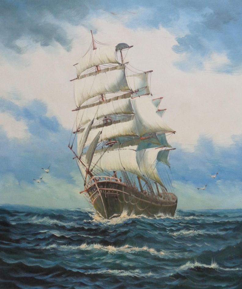 a big barque sailing ship 39 s ocean journey oil painting
