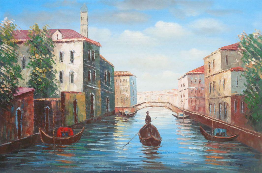 Italian Venice Water Street Scene Oil Painting Italy