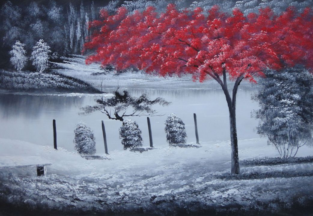 Red Tree In Black And White Landscape Oil Painting