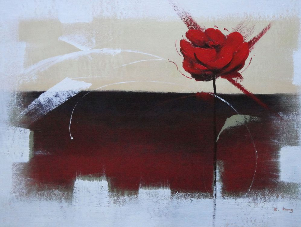 Abstract Red Rose Oil Painting Flower Modern 24 X 36