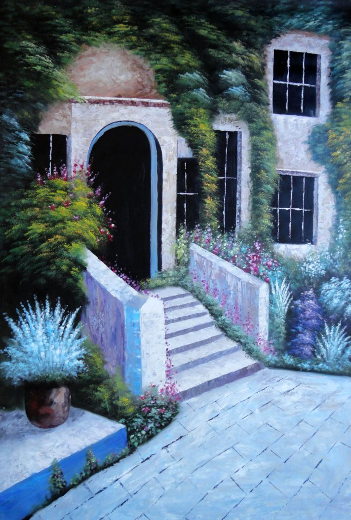 House Surrounded By Flowers Oil Painting Garden Italy