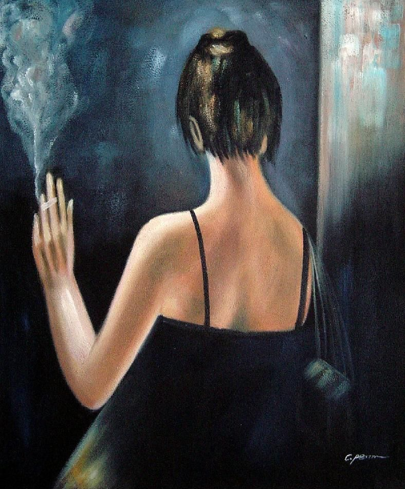 back of smoking lady with evening dress oil painting portraits woman