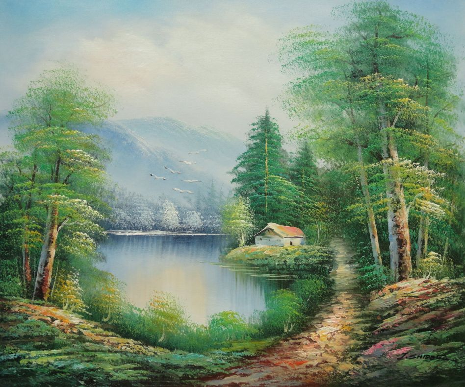 Quiet Lake Scenery In Eary Spring Oil Painting Landscape