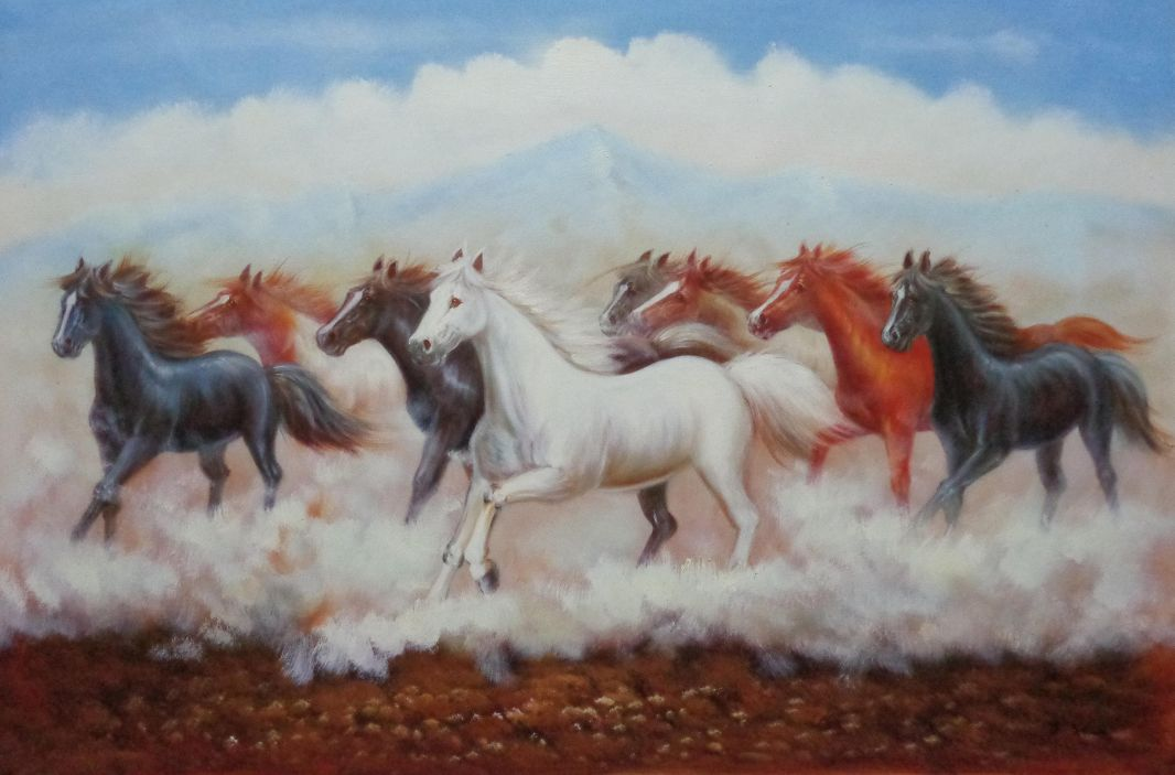 Eight Running Horses Oil Painting Animal Naturalism 24 X 36 Inches With Frame