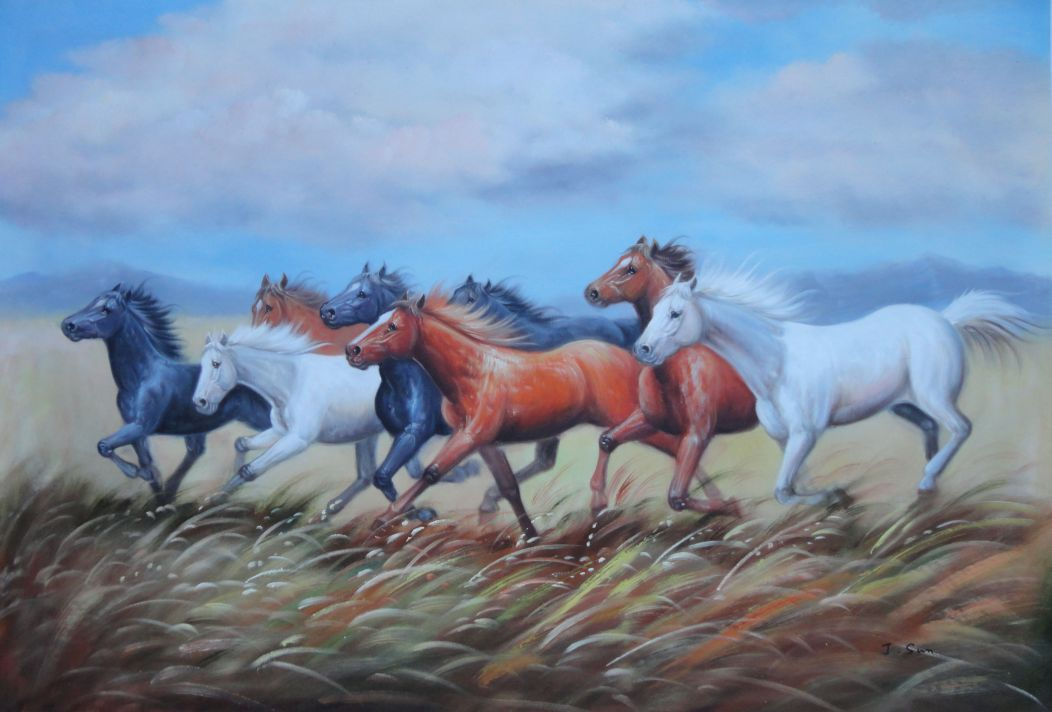 Eight Horses On The Prairie Oil Painting Animal Naturalism