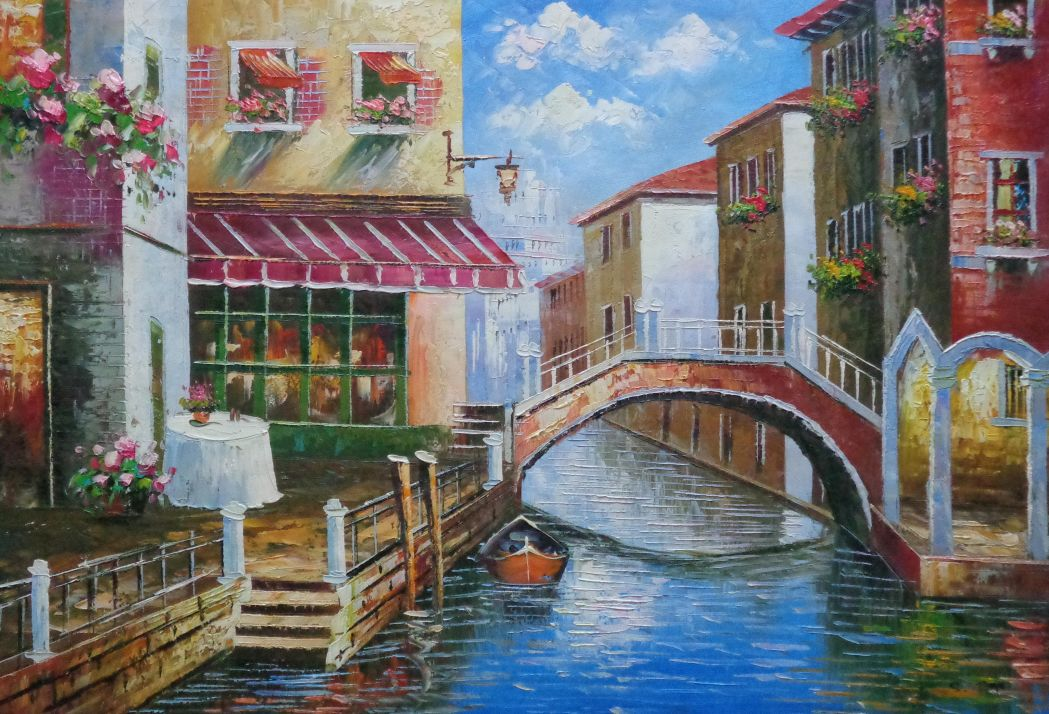 Venice Canal With Bridge And Gondolas In Summer Bright Day