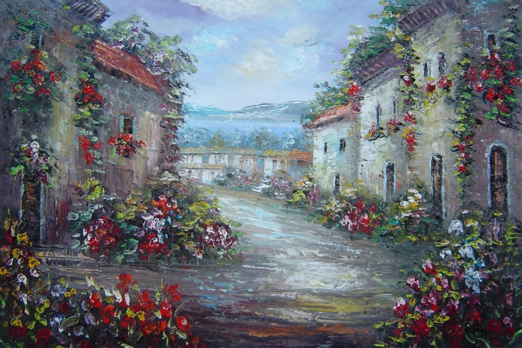 Mediterranean Village Street With Colorful Flowers Oil