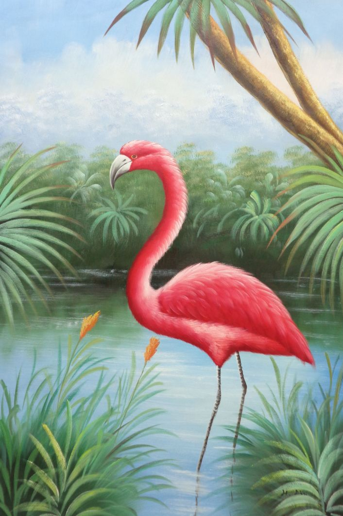 Framed Red Flamingo On Pond Oil Painting Animal Bird