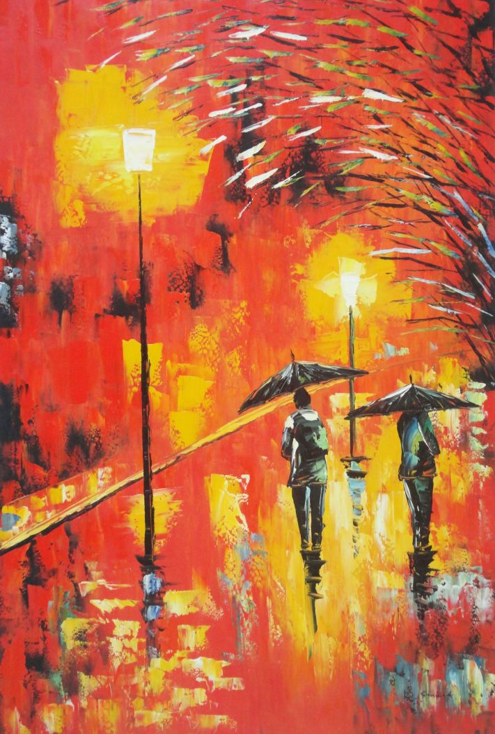 Framed People In Street On Rainy Night With Bright Red
