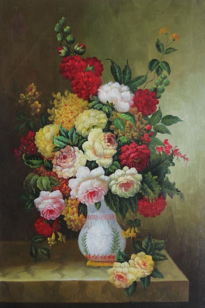 Framed Bouquet Of Flowers Autumn In White Vase Oil Painting Still
