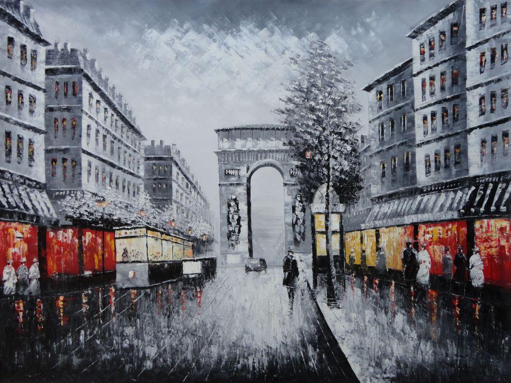 Black And White Paris Arc De Triumphe Oil Painting